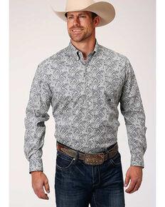 Roper Amarillo Men's Heritage Gentlemans Paisley Print Long Sleeve Western Shirt , Blue, hi-res