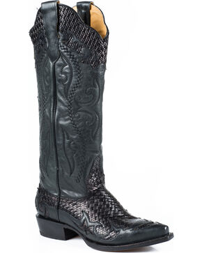 Stetson Women's Bailey Black Basketweave Western Boots - Snip Toe, Black, hi-res