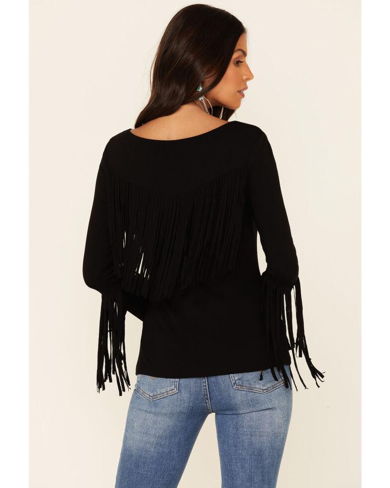 Idyllwind Women's Groovy Fringe Bell Sleeve Top , Black, hi-res