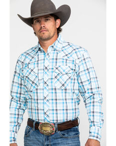 Wrangler 20X Men's Advanced Comfort White Plaid Long Sleeve Western Shirt , White, hi-res