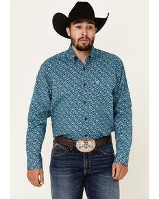 Ariat Men's Herman Stretch Paisley Print Long Sleeve Button-Down Western Shirt - Big, Blue, hi-res