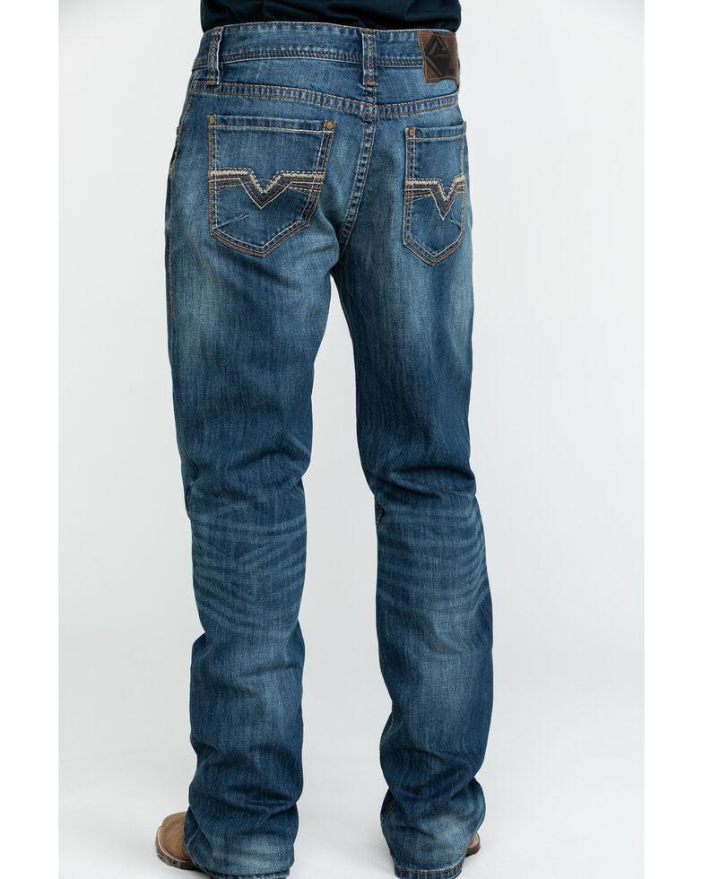 Rock & Roll Cowboy Men's Small V Reflex Double Barrel Boot Jeans , Blue, hi-res