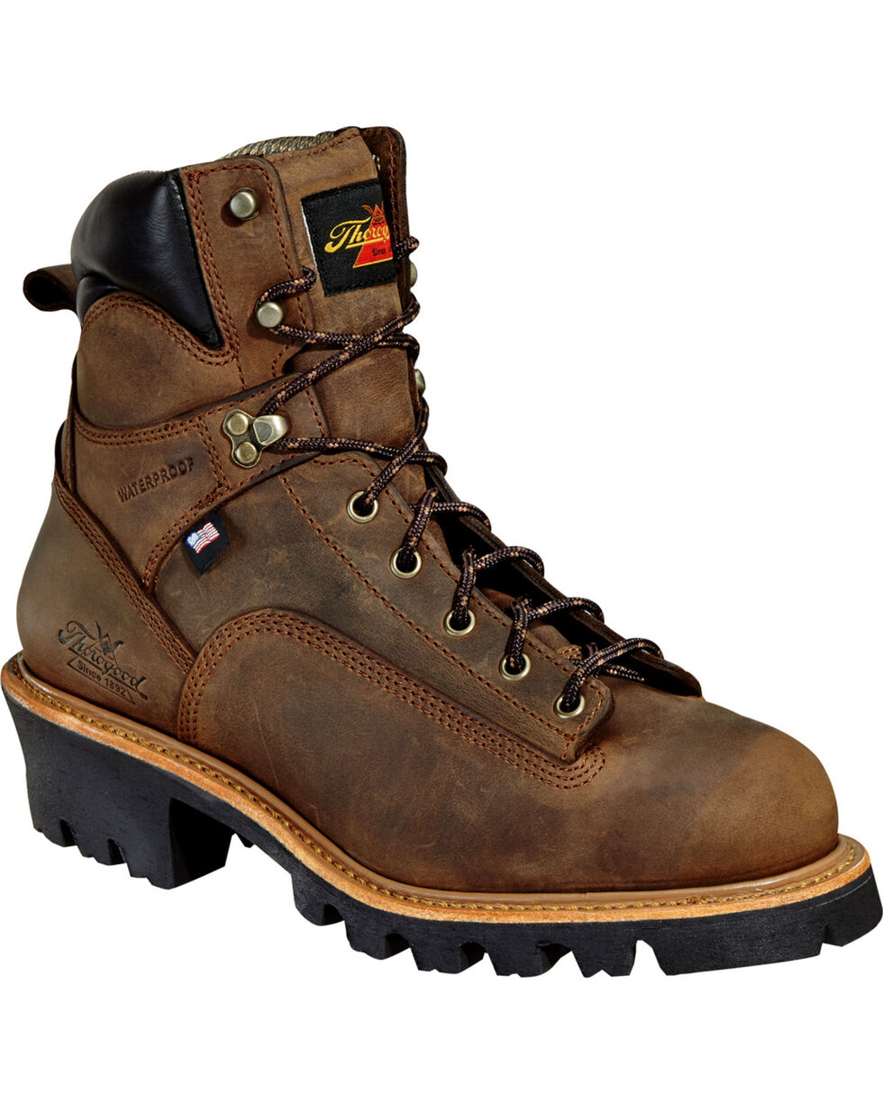 """Thorogood Men's 6"""" Lace To Toe Logger Waterproof Work Boots, Brown, hi-res"""