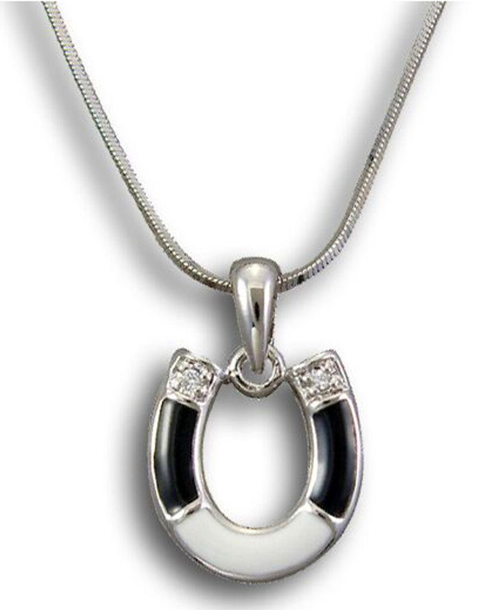Kelly Herd Women's Sterling Silver Horseshoe Pendant Necklace , Black, hi-res