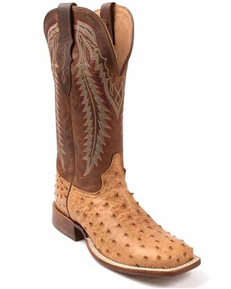 Tony Lama Men's Felix Exotic Ostrich Western Boots - Wide Square Toe, Tan, hi-res