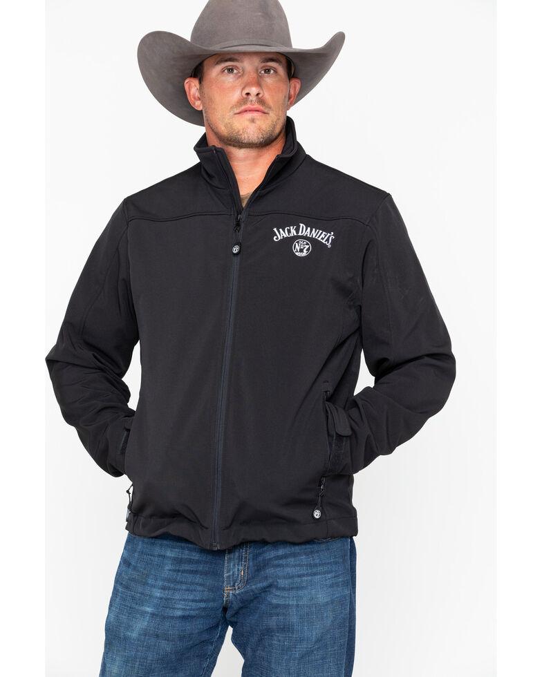 Jack Daniel's Men's Zip-Up Soft Shell Logo Jacket , Black, hi-res