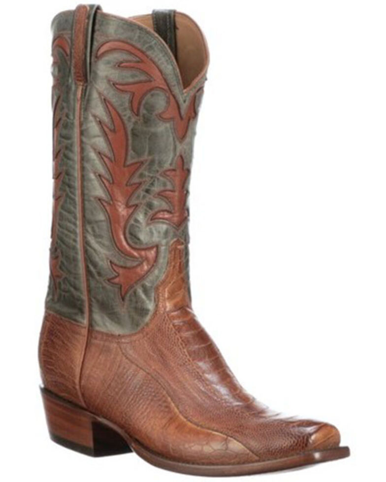 Lucchese Men's Hall Western Boots - Wide Square Toe, Brown, hi-res