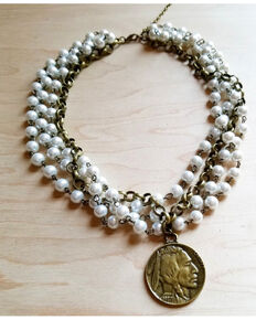 Jewelry Junkie Women's Pearl & Antique Gold Quad Indian Head Coin Necklace , Multi, hi-res