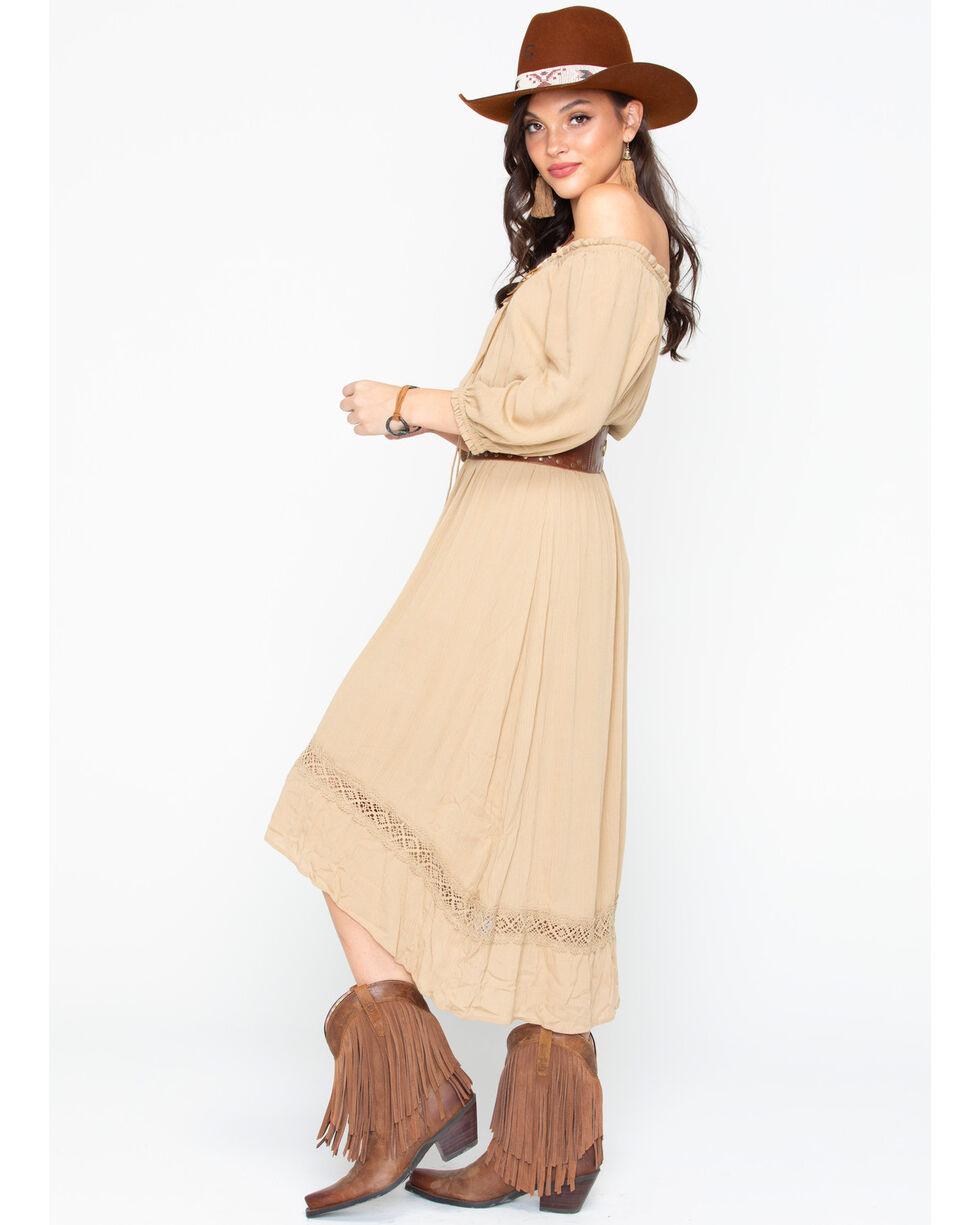 Wrangler Women's Peasant Hi Low Belted Tassel Dress , Tan, hi-res