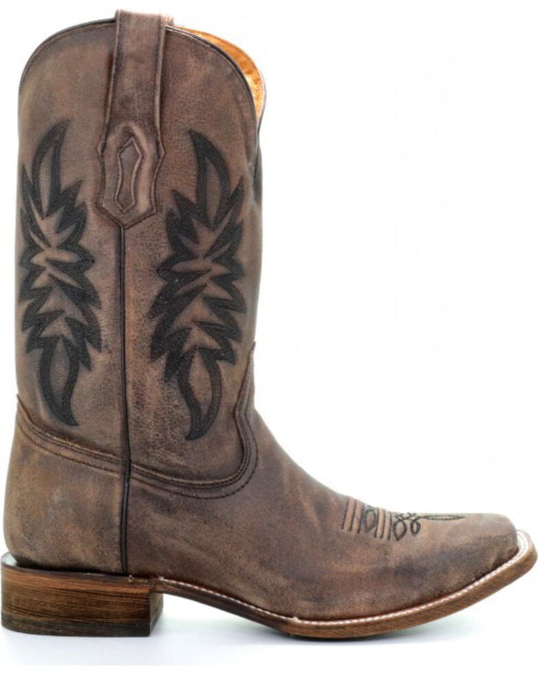 Corral Men's Vintage Brown Embroidered Cowboy Boots - Square Toe, Brown, hi-res
