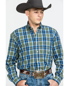 Roper Men's Amarillo Meadow Plaid Long Sleeve Western Shirt , Green, hi-res