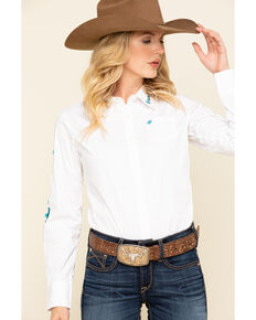 Ariat Women's White Team Kirby Stretch Long Sleeve Shirt, White, hi-res