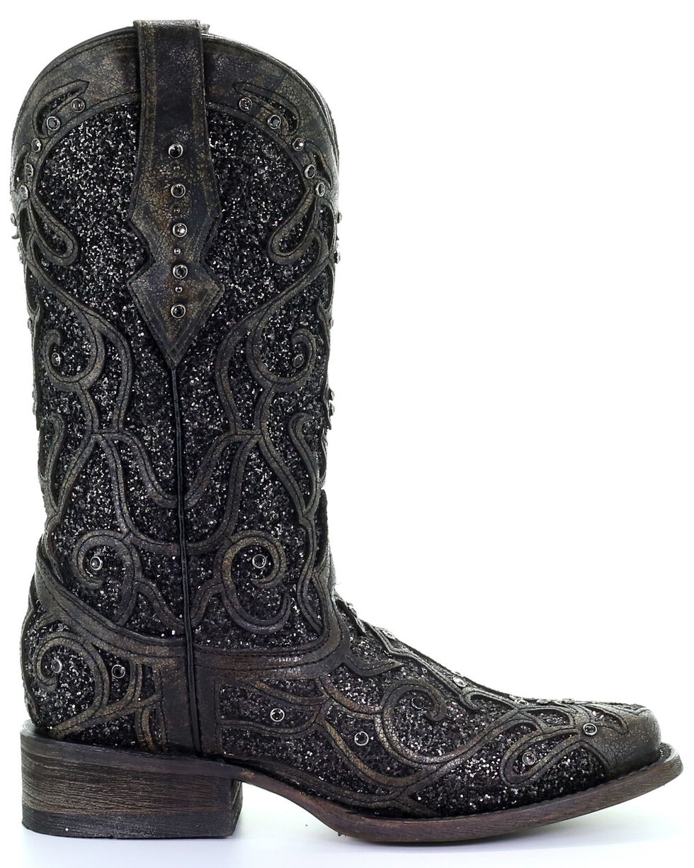 Corral Women's Black Glitter Inlay & Studs Western Boots - Square Toe, , hi-res