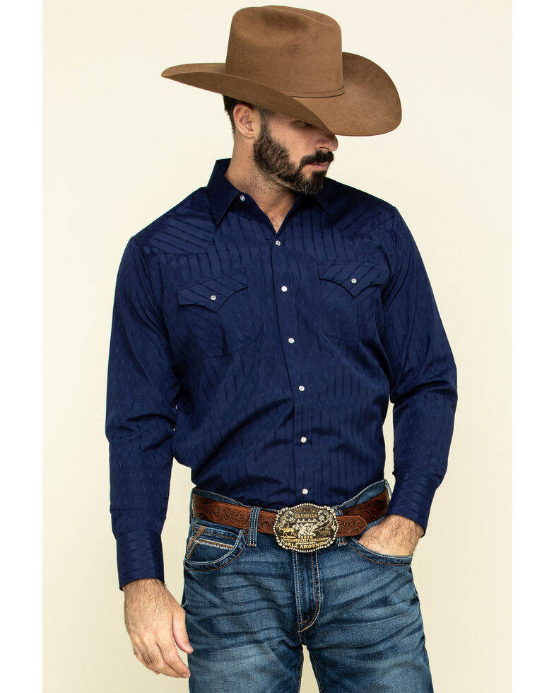 Ely Walker Men's Dark Tonal Stripe Long Sleeve Western Shirt , Multi, hi-res