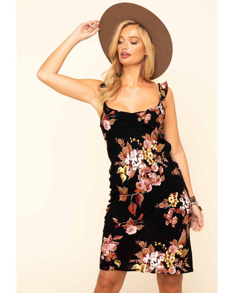 Lunachix Women's Black Floral Flutter Strap Midi Dress , Black, hi-res