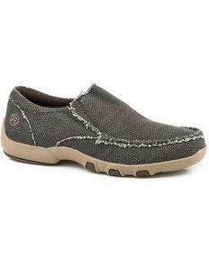Roper Men's Old Glory Slip-On Shoes - Moc Toe, Black, hi-res