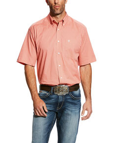 Ariat Men's Harsley Stretch Geo Print Short Sleeve Western Shirt - Big & Tall , Orange, hi-res