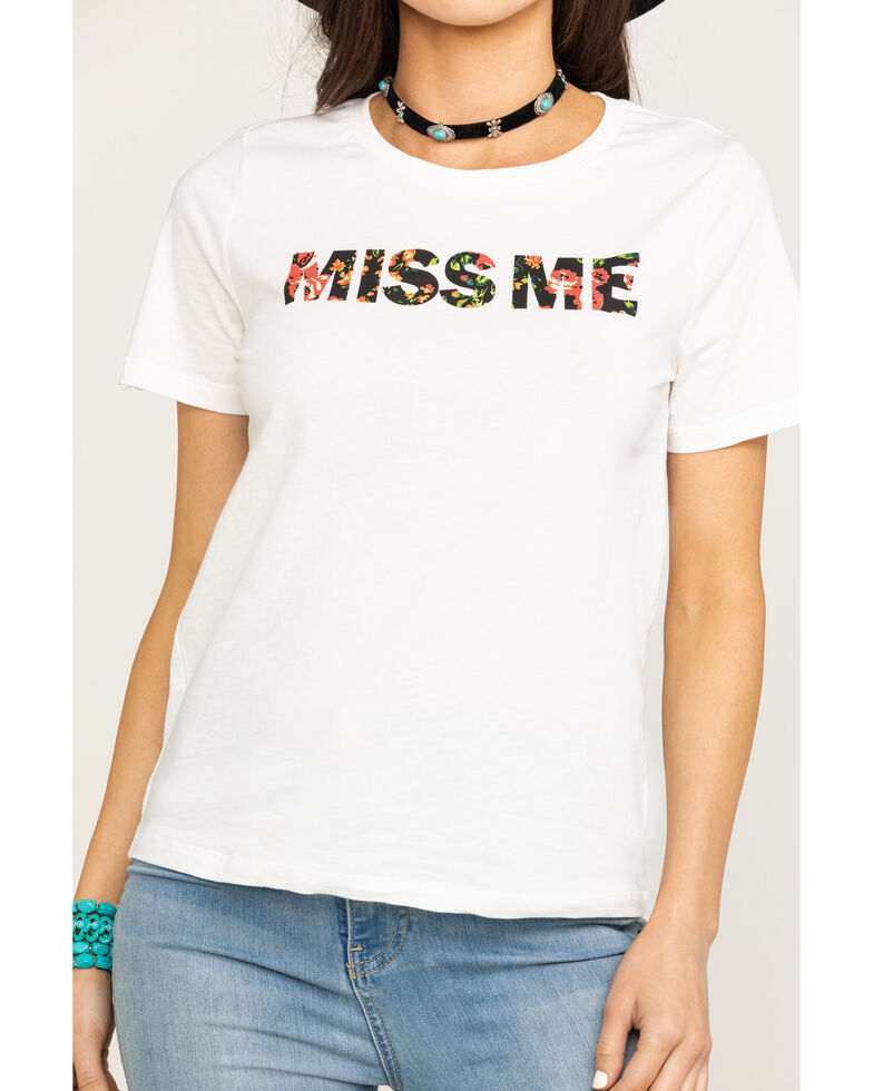 Miss Me Women's Floral Logo Graphic Tee , White, hi-res