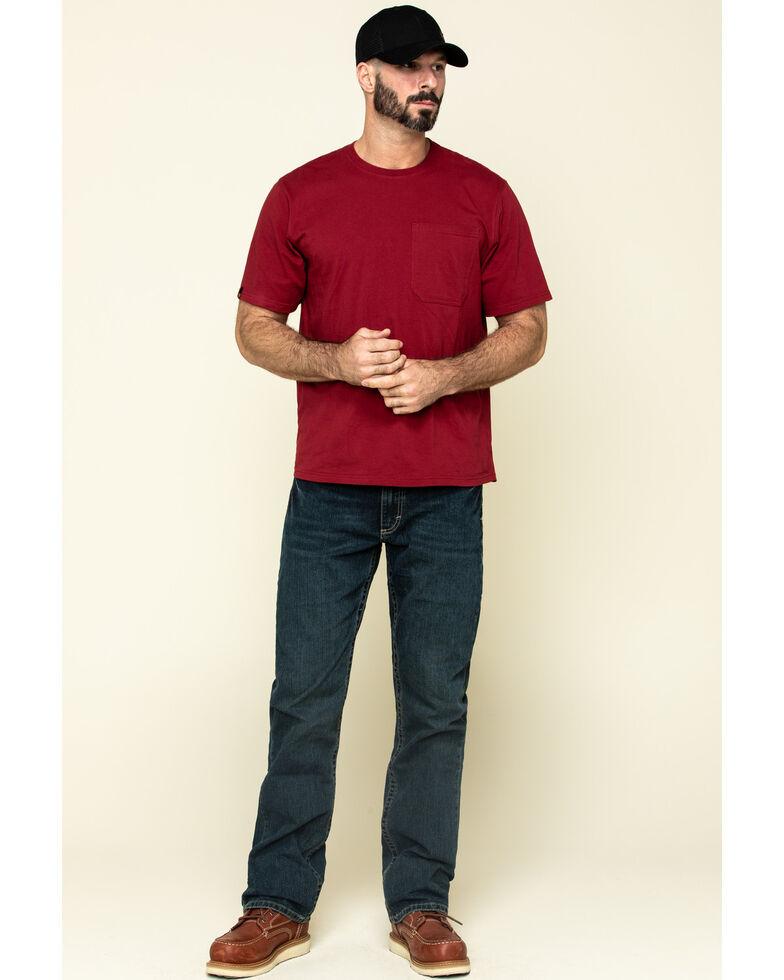 Hawx Men's Red Solid Pocket Short Sleeve Work T-Shirt - Big , Red, hi-res