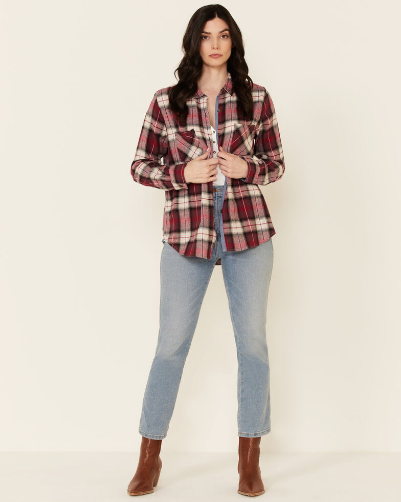 Flag & Anthem Women's Red Elsie Plaid Long Sleeve Button-Down Western Core Shirt , Red, hi-res