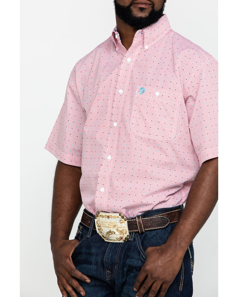 George Strait By Wrangler Men's Red Small Circle Geo Print Short Sleeve Western Shirt - Tall, Red, hi-res