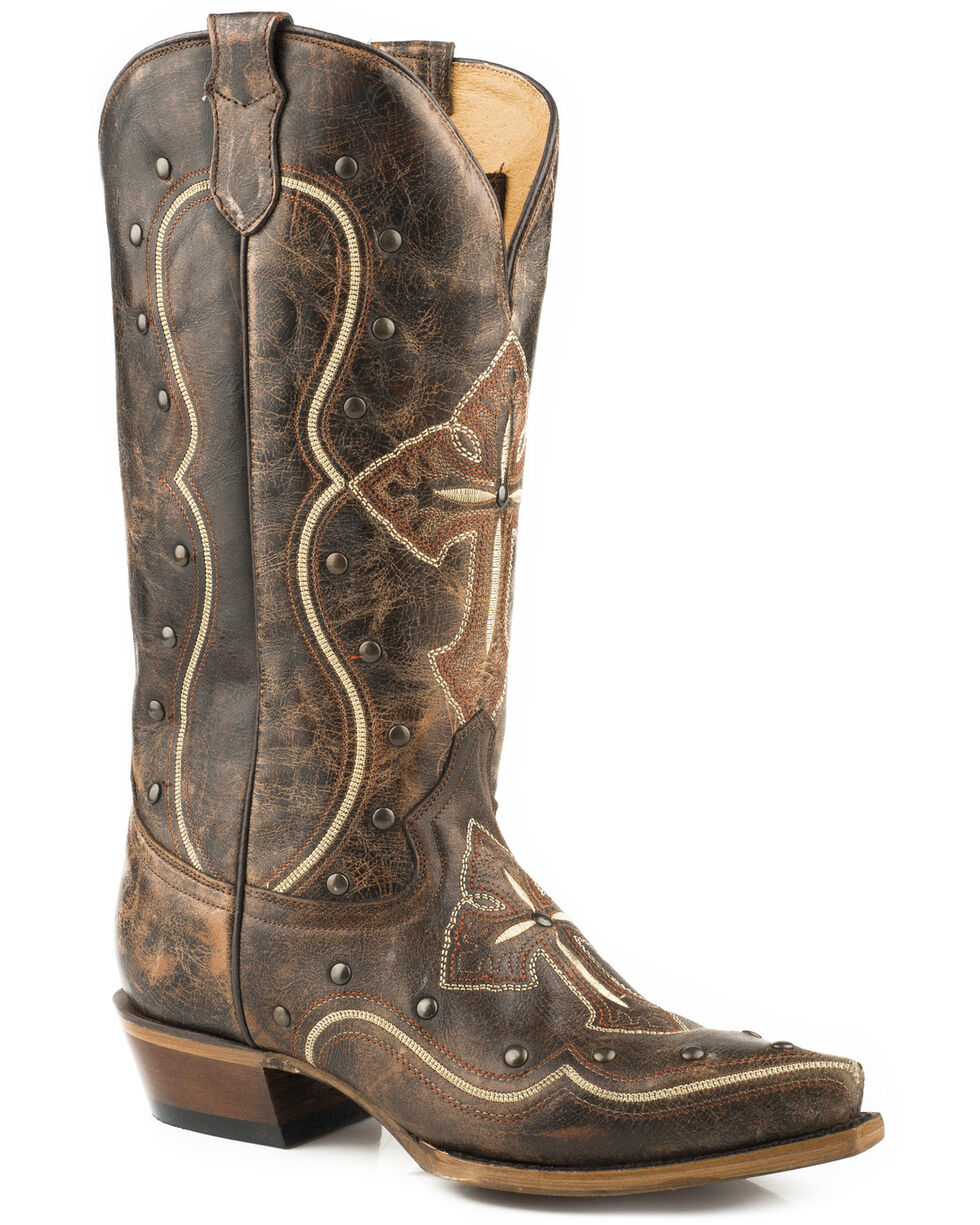 Roper Women's Pure Cross & Studs Cowgirl Boots - Snip Toe , Brown, hi-res