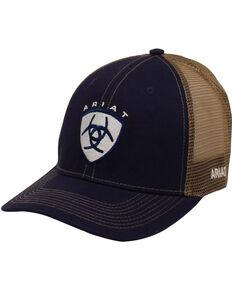 Ariat Men's Navy Center Logo Mesh-Back Ball Cap , Navy, hi-res