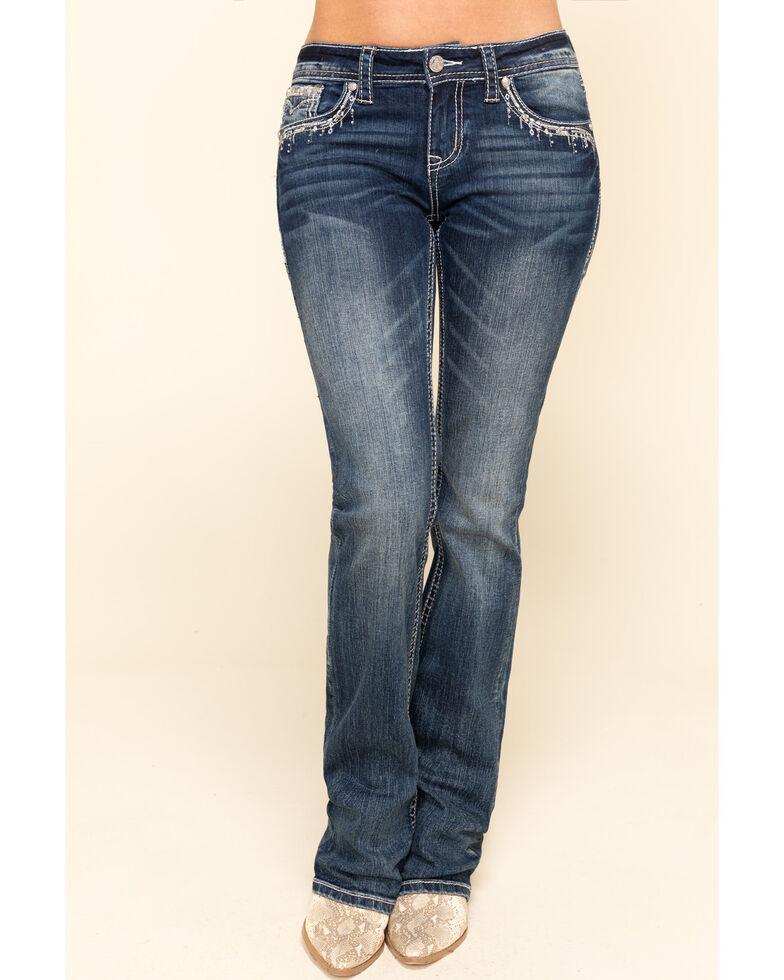Grace in LA Women's Medium Wash Chandelier Bootcut Jeans, Blue, hi-res