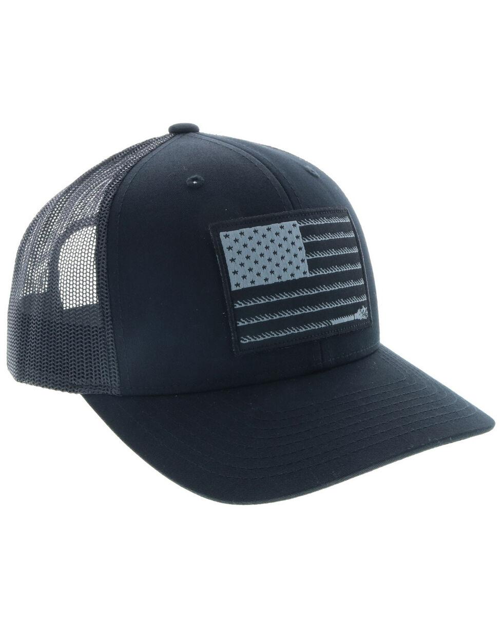 HOOey Men's Liberty Roper Flag Trucker Cap, Black, hi-res