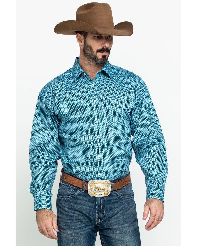 Panhandle Select Men's Blue Poplin Geo Print Long Sleeve Western Shirt , Blue, hi-res
