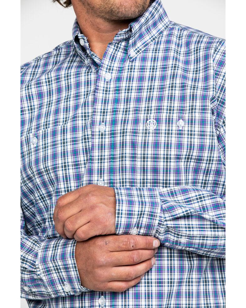 George Strait by Wrangler Men's Multi Small Plaid Long Sleeve Western Shirt , Purple, hi-res
