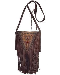 Kobler Leather Women's Brown Painted Crossbody Bag, Dark Brown, hi-res