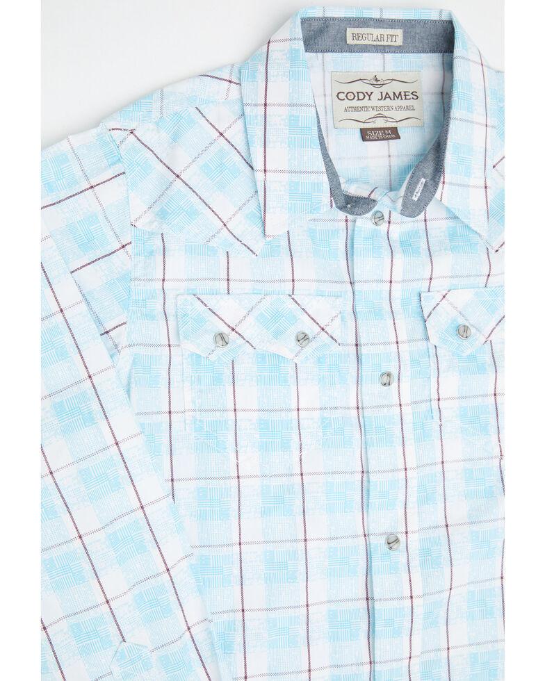 Cody James Boys' Crooks Cross Plaid Long Sleeve Western Shirt , Turquoise, hi-res