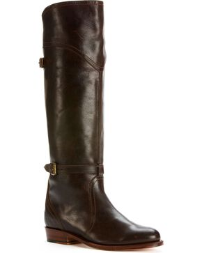 Frye Women's Dorado Riding Boots - Round Toe, Dark Brown, hi-res