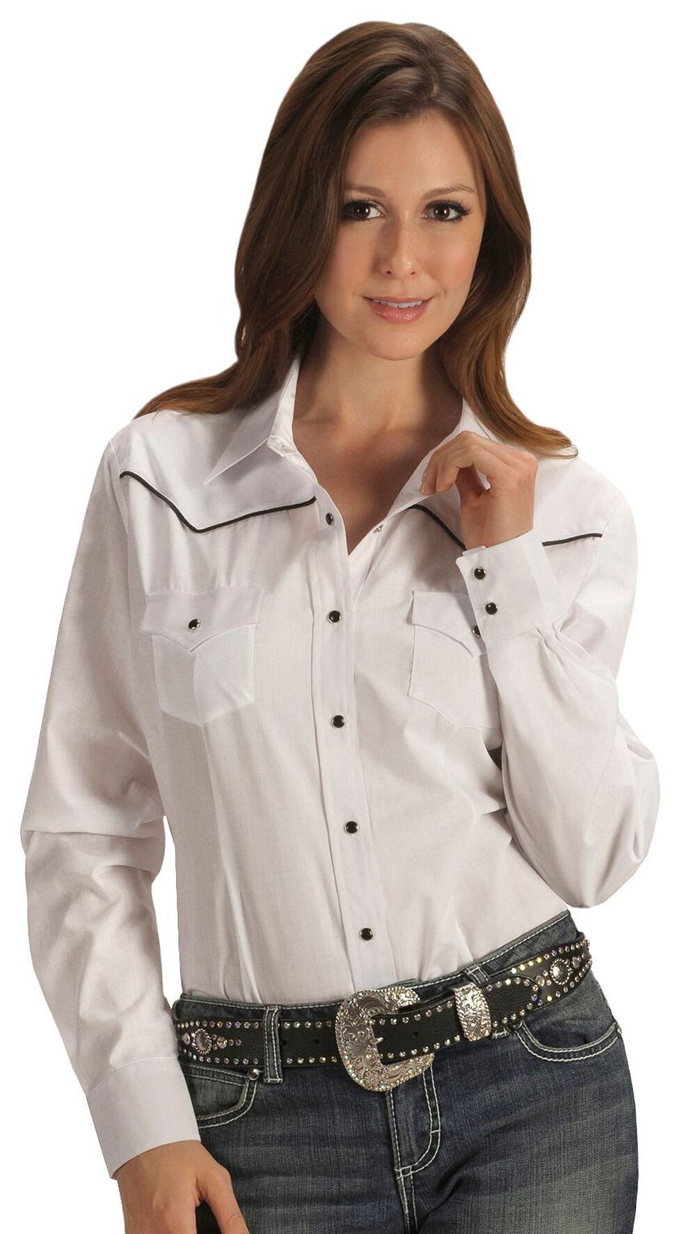 Ely Solid White with Black Piping Western Shirt, White, hi-res