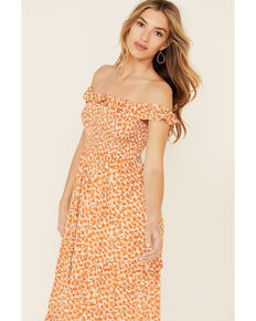 Polagram Women's Floral Tiered Maxi Dress, Orange, hi-res