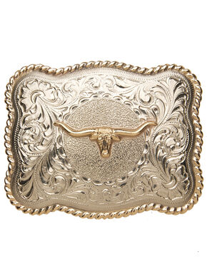 AndWest Men's Sonora Silver Longhorn Belt Buckle, Two Tone, hi-res