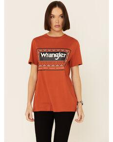 Wrangler Women's Rust Aztec Border Logo Graphic Tee , Rust Copper, hi-res