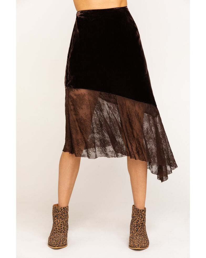 Free People Women's My Lacey Midi Skirt, Brown, hi-res