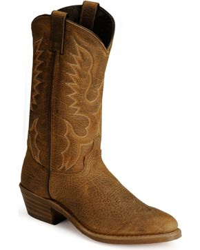 Abilene Bison Leather Cowboy Boots - Medium Toe, Tan, hi-res