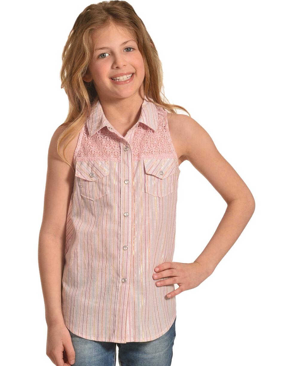 Shyanne Toddler Girls' Shiny Striped Crochet Sleeveless Top, Pink, hi-res