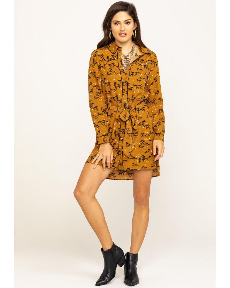 Wrangler Women's Tan Horse Button Down Shirt Dress, Tan, hi-res