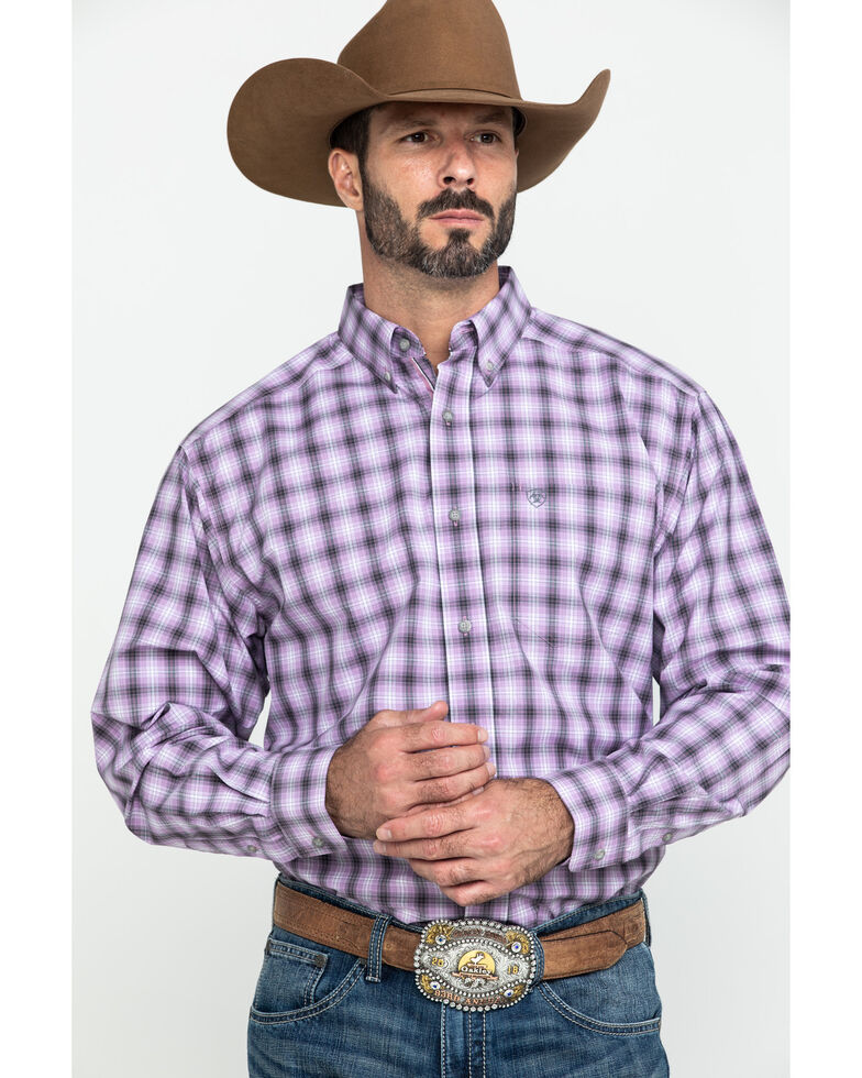 Ariat Men's Frankfort Small Plaid Long Sleeve Western Shirt , Purple, hi-res