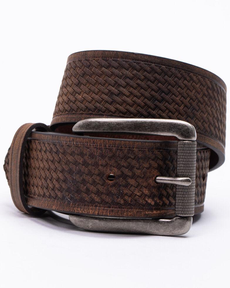 Hawx® Men's Roller Buckle Basket-Weave Belt , Brown, hi-res