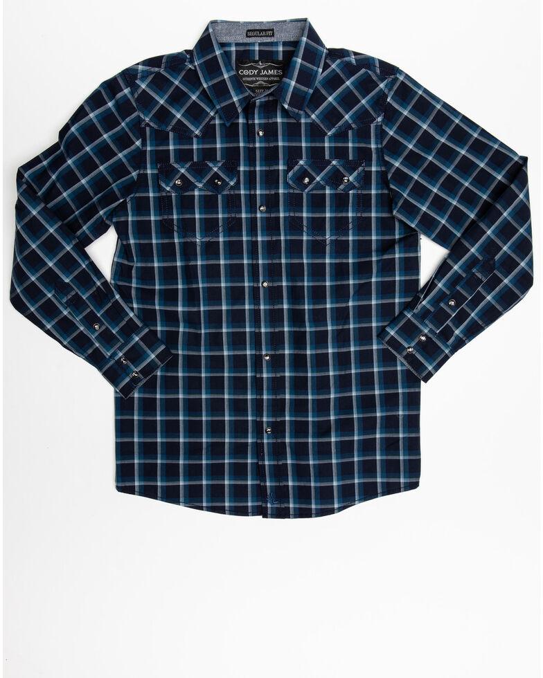 Cody James Boys' Reins Woven Plaid Long Sleeve Western Shirt , Navy, hi-res