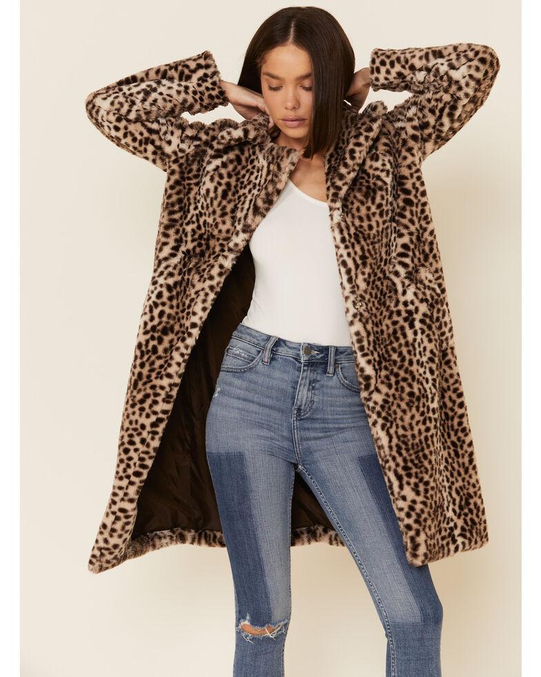 26 International Women's Multi Leopard Print Faux Fur Jacket , Multi, hi-res