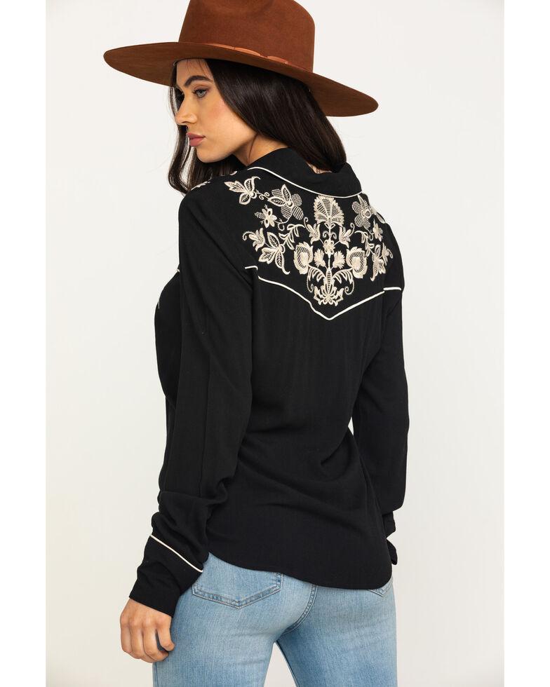 Stetson Women's Black Crepe Long Sleeve Western Shirt, Black, hi-res