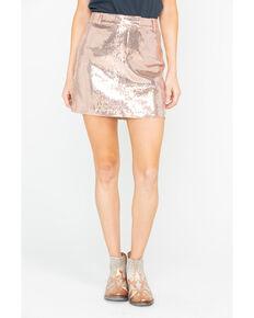 Jack By BB Dakota Women's Sequin Modern Love Mini Skirt , Rust Copper, hi-res