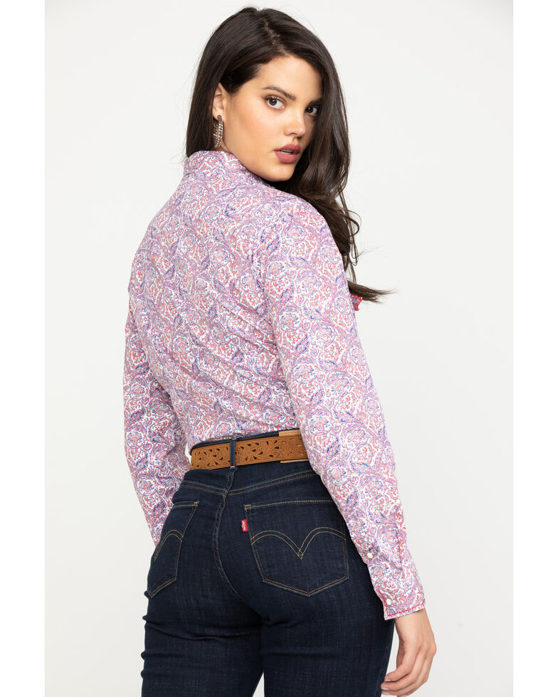 Rough Stock by Panhandle Women's Paisley Long Sleeve Western Shirt , Red, hi-res