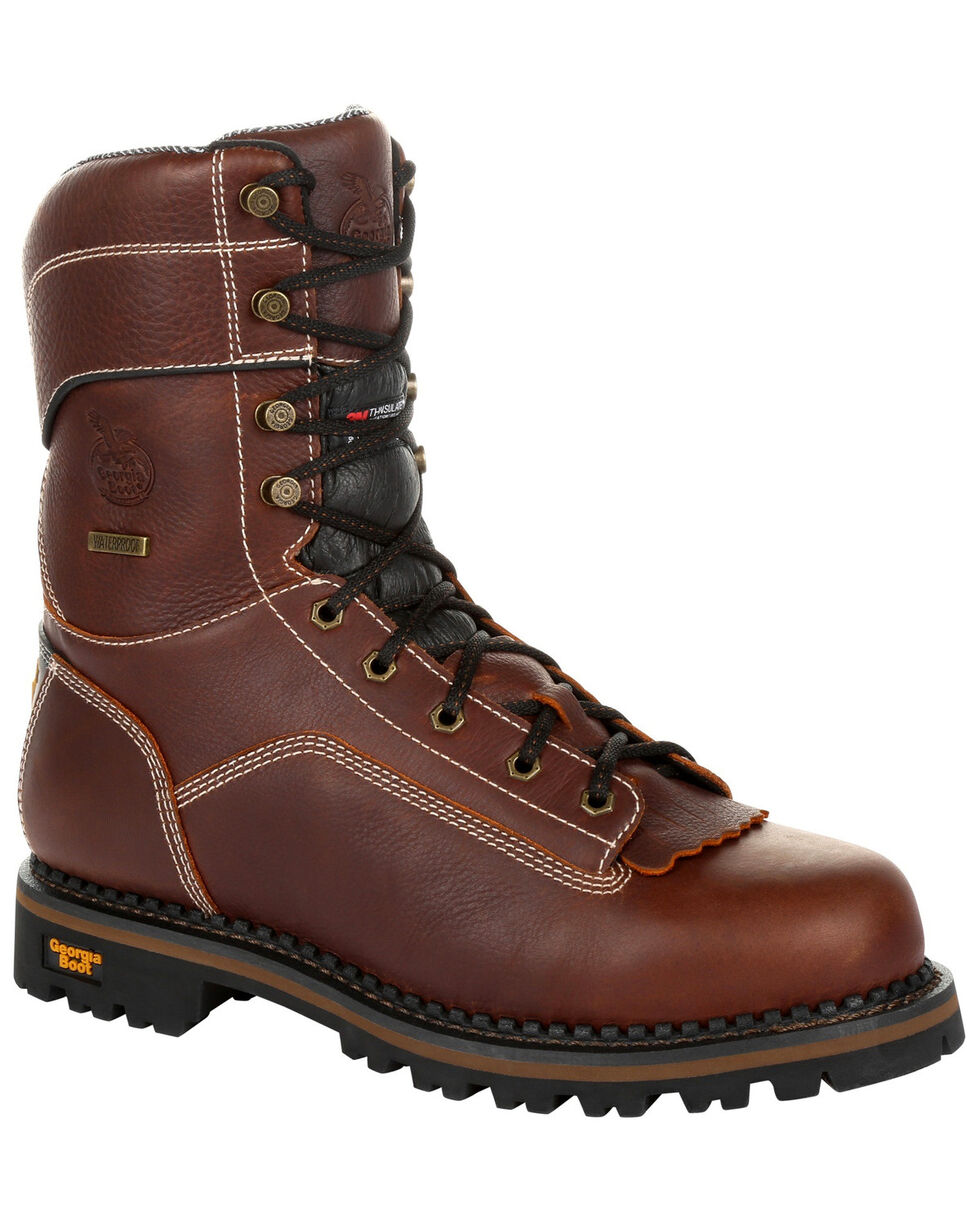 Georgia Boot Men's AMP LT Waterproof Insulated Logger Boots - Composite Toe, Brown, hi-res